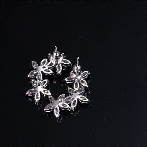 Cubic Zirconia 3 Flower Earrings - FREE SHIPPING!