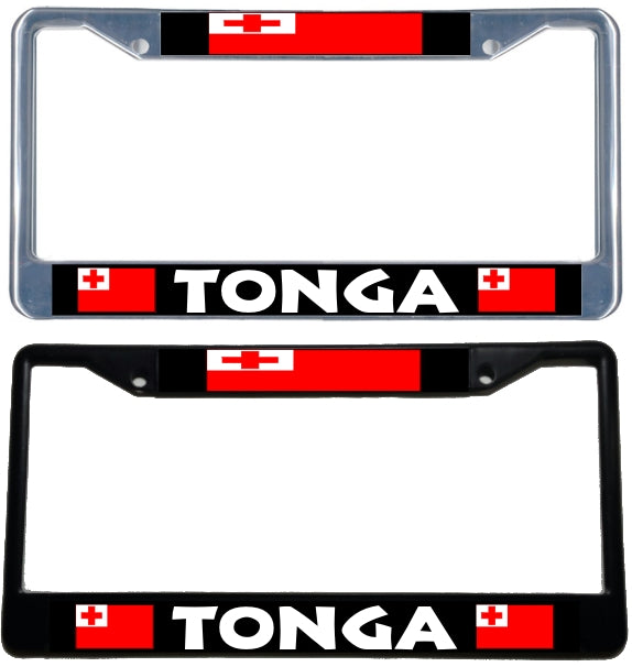 Tonga Flag License Plate Frame Black Amp Chrome Simply