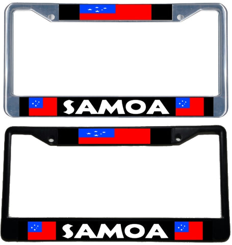 Western Samoa Flag License Plate Frame - black & chrome