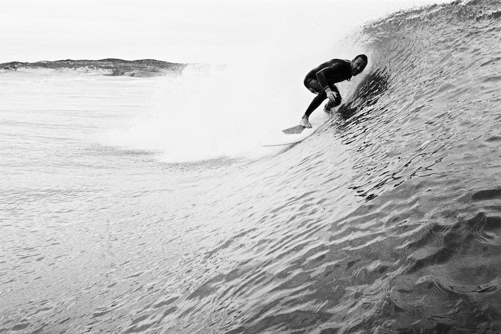 jakob andersson getting tubed on his homemade twinfin