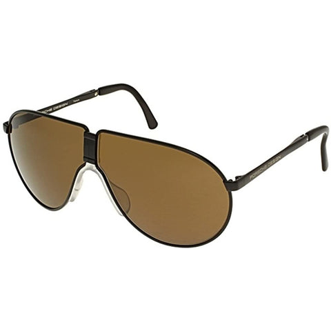 Sunglasses, Porsche, Crafted in Italy,Porsche Design P8480 Folding Black Frame/Brown Lens Titanium Sunglasses - Crafted in Italy Eyewear