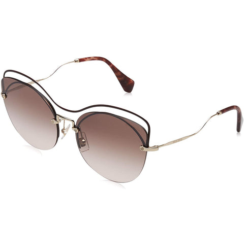 Sunglasses, Miu Miu, Crafted in Italy,MIU MIU Scenique Top Bar Cateye Sunglasses in Brown MU 50TS R1JQZ9 60 - Crafted in Italy Eyewear