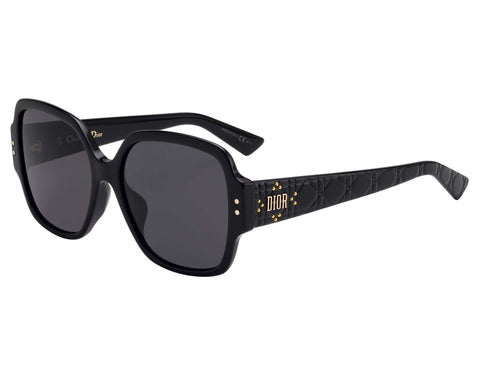 Sunglasses, Christian Dior, Crafted in Italy,Christian Dior Sunglasses (LadyDiorStuds5F 807IR) Glossy Black Striped Grey - Crafted in Italy Eyewear