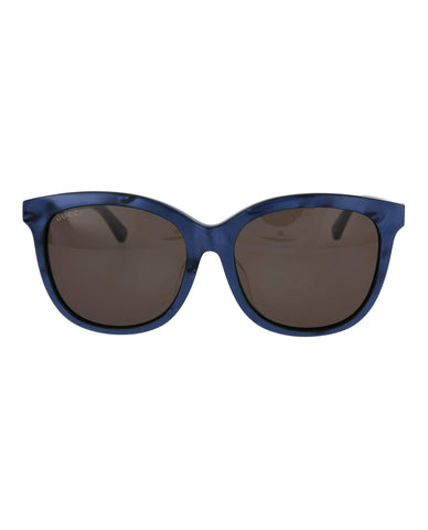 Sunglasses, Gucci, Crafted in Italy,Gucci Unisex's GG0082SK 005 Sunglasses, Bluee/Brown, 56 - Crafted in Italy Eyewear