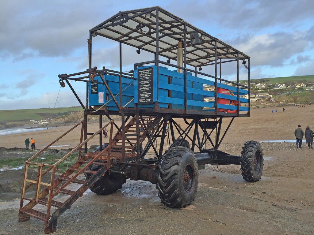 The Burgh Island Hotel is situated on a tidal island in South Devon and can be reached by foot when the tide is out. The island becomes cut off when the tide is in and residents reach the hotel by way of the funny sea tractor.