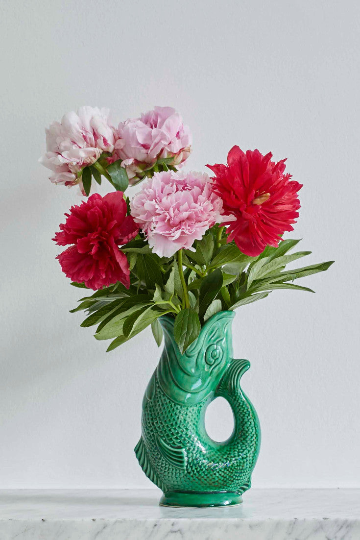 These vintage fish jugs are one of the hardest working pieces in our kitchen. Perfect for pimping a simple bunch of flowers or making your kids smile with their iconic glugging sound.