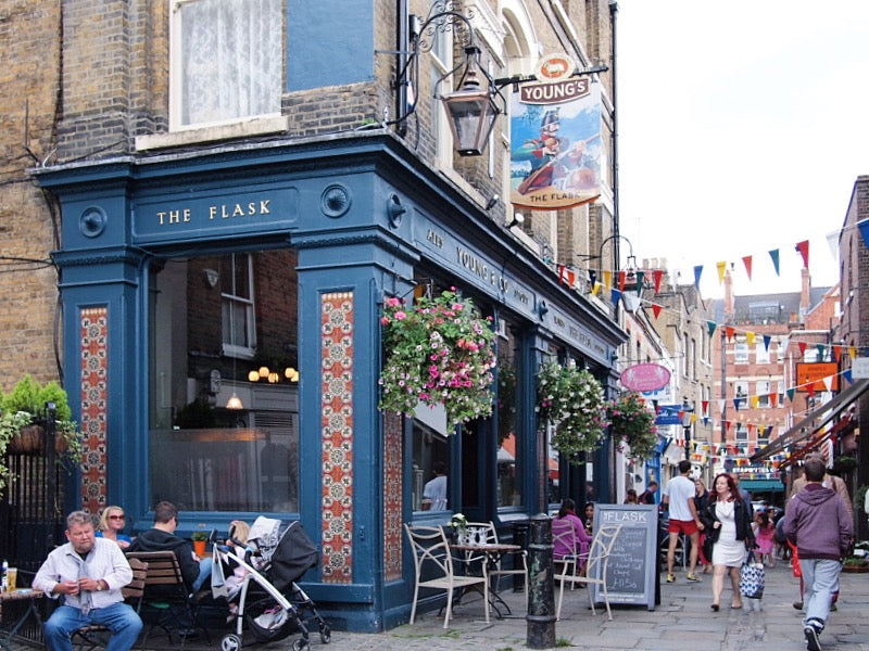 The Flask in Hampstead is a traditional Victorian London pub serving ales and good food