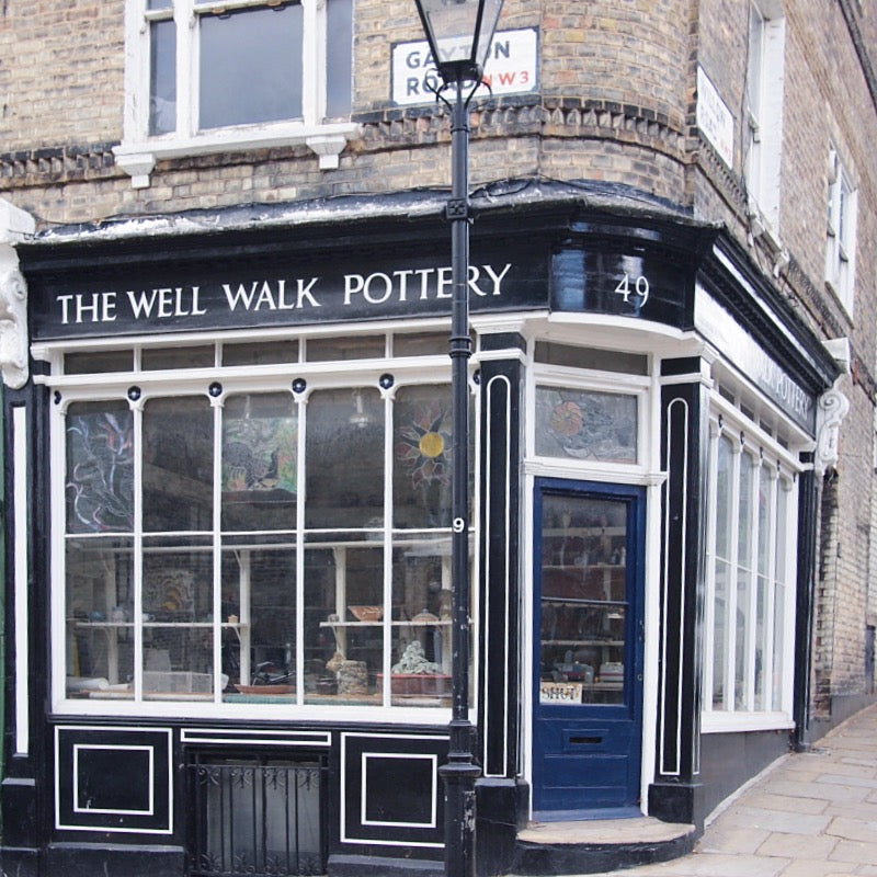 The Well Walk Pottery in Hampstead, London, has a beautiful Georgian shop frontage.