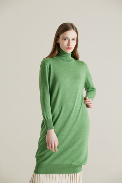 Green Merino Roll-Neck Dress