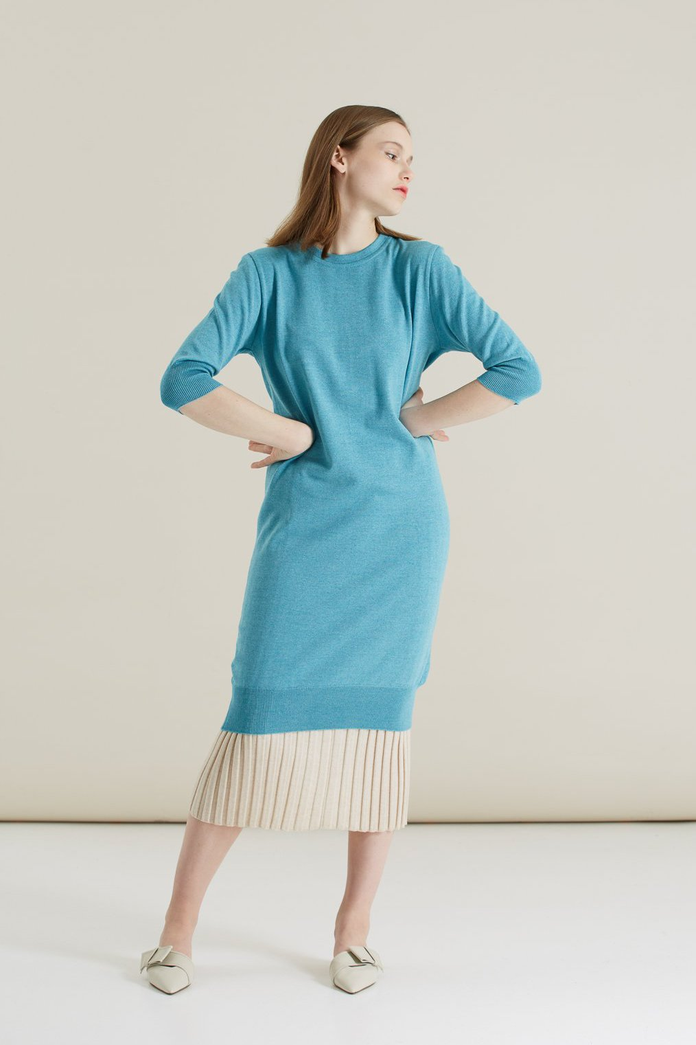 Blue Merino Round-Neck Dress