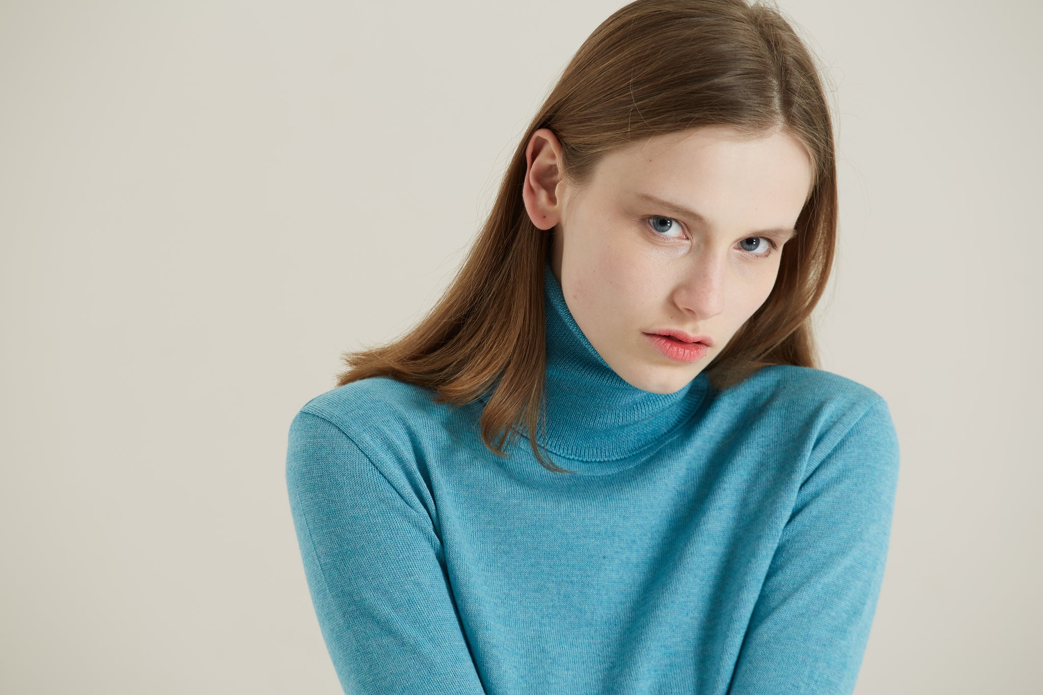 Blue Merino Roll-Neck Jumper