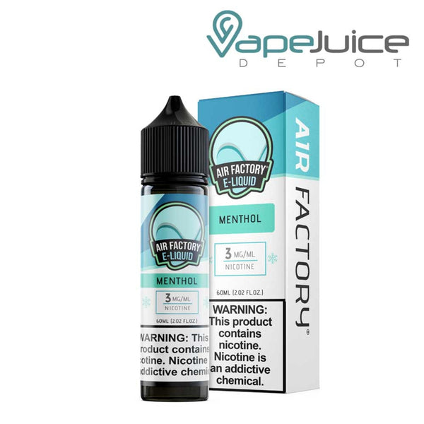 A 60ml bottle of Air Factory Menthol eLiquid and a box with a warning sign next to it - Vape Juice Depot