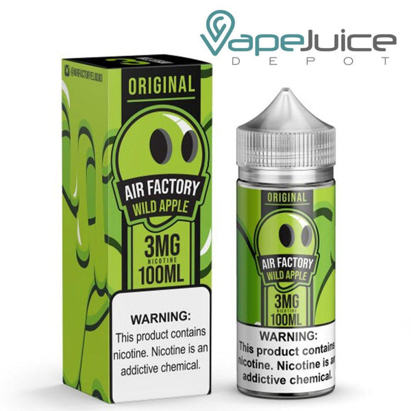 A box of Air Factory Wild Apple Synthetic e-Liquid and a 100ml bottle with a warning sign - Vape Juice Depot