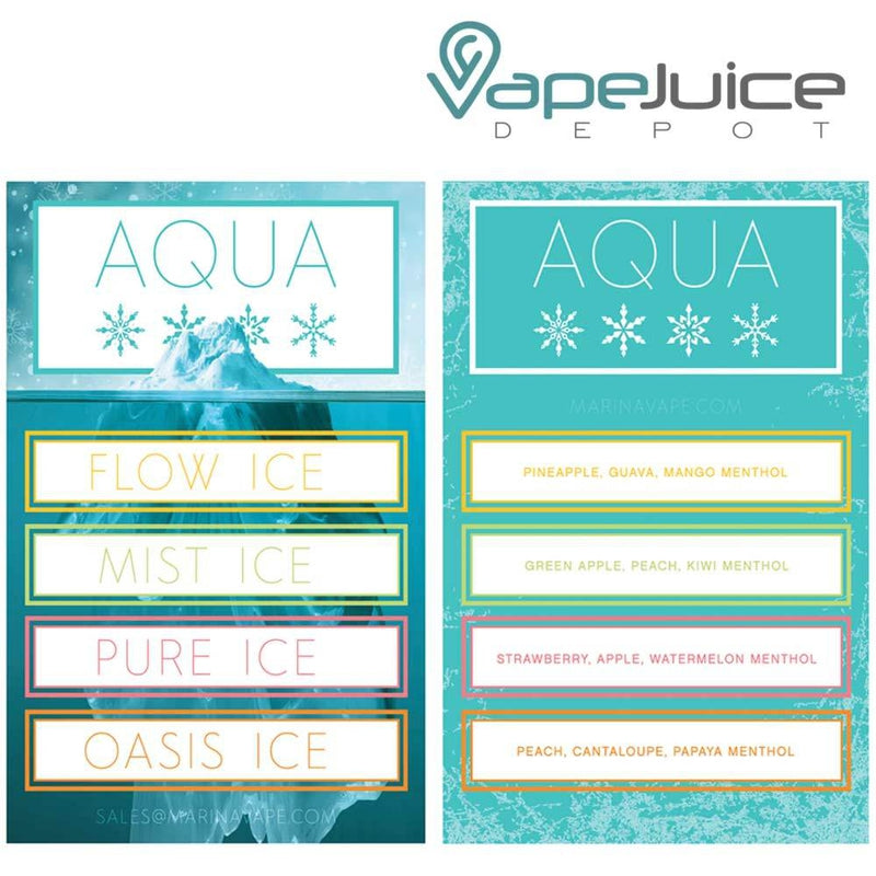 AQUA Ice ❄️ Flow e-Liquid by Marina Vape 60ml - VapeJuiceDepot