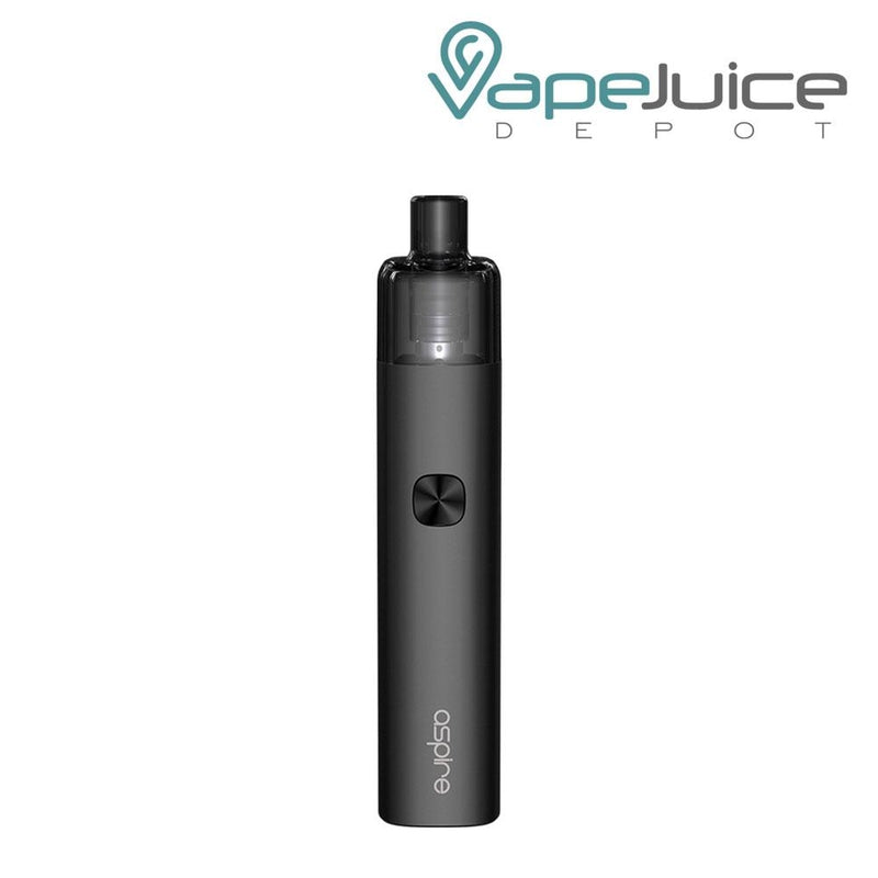 Jet Black AVP-CUBE Pod Kits with a firing button and Aspire logo beneath - Vape Juice Depot
