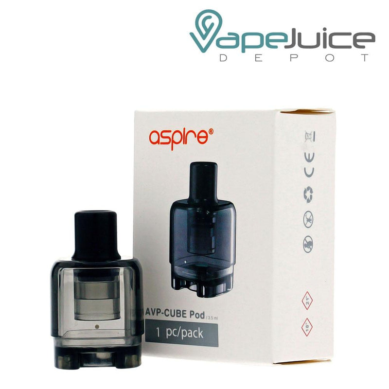 A box of Aspire AVP-CUBE Replacement Pods and an actual pod on the left - Vape Juice Depot