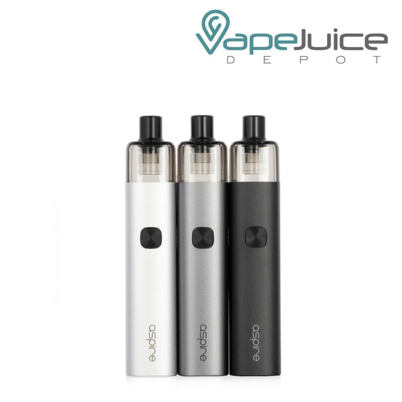 Three Aspire AVP-CUBE Pod Kits in different colors with one firing button and Aspire logo beneath - Vape Juice Depot