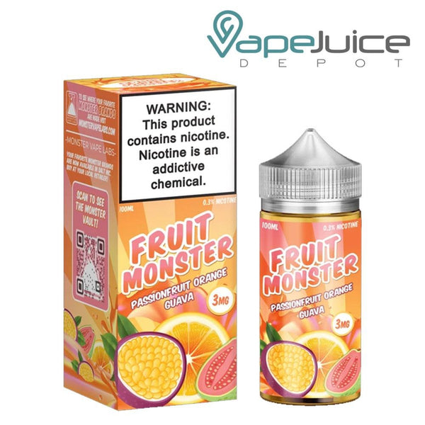 A box of Fruit Monster Passionfruit Orange Guava with a warning sign and a 100ml bottle next to it - Vape Juice Depot