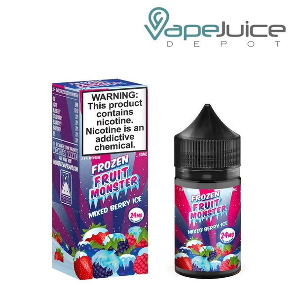 A box of Frozen Fruit Monster Salts Mixed Berry Ice with a warning and a 30ml chubby gorilla bottle next to it - Vape Juice Depot
