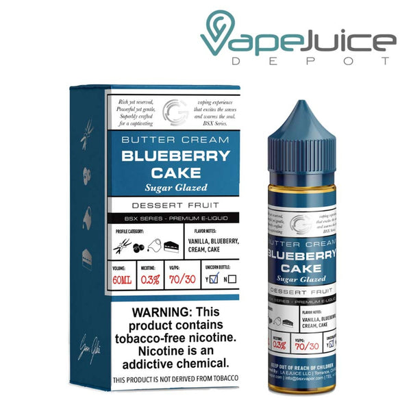 A box of Glas Basix Blueberry Cake Synthetic eLiquid with a warning and a 60ml chubby gorilla bottle next to it - Vape Juice Depot