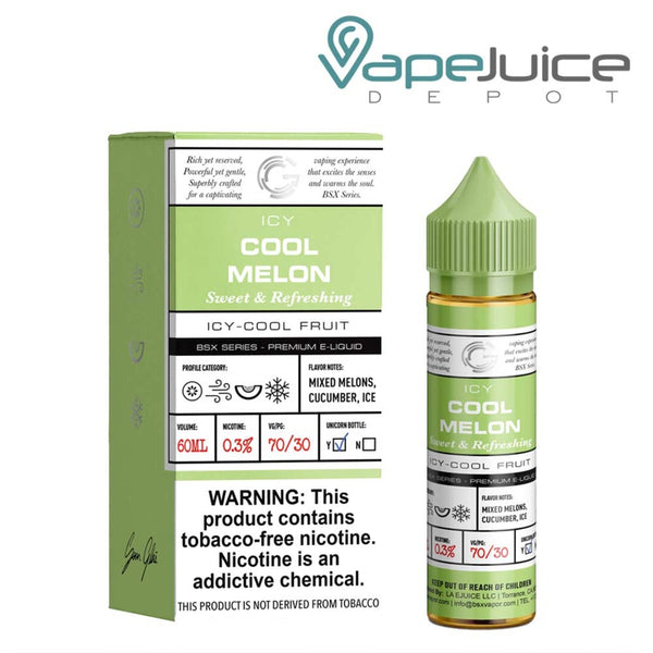 A 60ml bottle of Glas Basix Synthetic Cool Melon and a box with a warning sign next to it - Vape Juice Depot