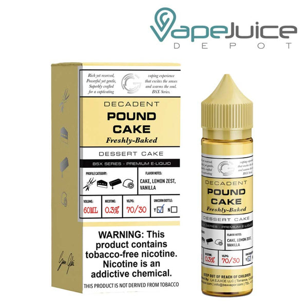 A 60ml bottle of Glas Basix Synthetic Pound Cake and a box with a warning sign next to it - Vape Juice Depot