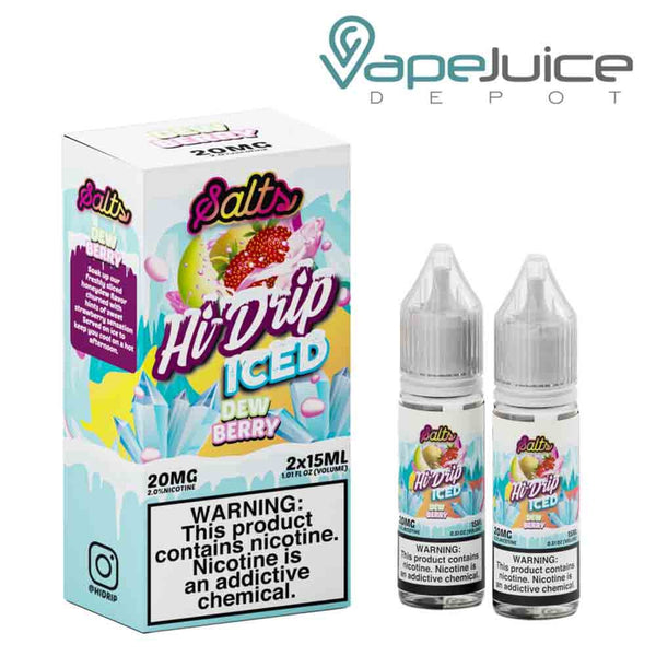 Two 15ml bottles of Hi-Drip Salts Iced Dewberry eLiquid and a box with a warning sign next to them - Vape Juice Depot