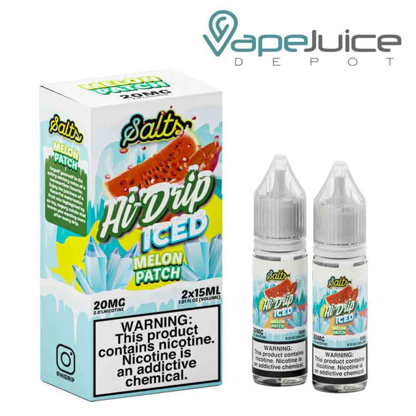 Two 15ml bottles of Salts Iced Melon Patch by Hi Drip and a box next to it - Vape Juice Depot