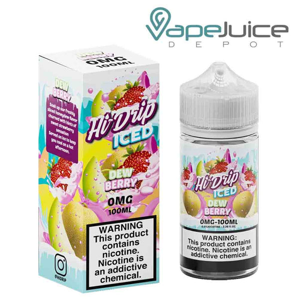 A 100ml bottle of Hi-Drip Iced Dewberry eLiquid and a box with a warning sign next to it - Vape Juice Depot