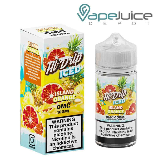 A 100ml bottle of Hi-Drip Iced Island Orange eLiquid and a box with a warning sign next to it - Vape Juice Depot