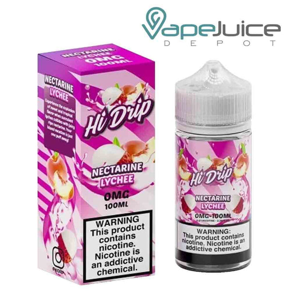 A 100ml bottle of Hi-Drip Nectarine Lychee eLiquid and a box with a warning sign next to it - Vape Juice Depot