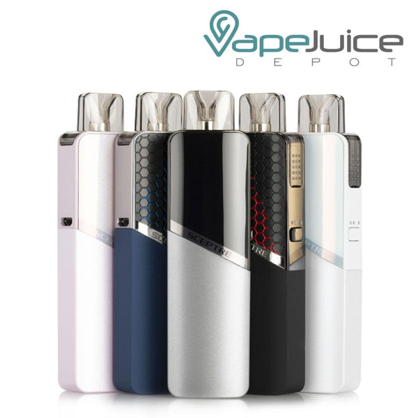 Five Innokin Sceptre MTL Pod Systems with Sceptre logo and firing button on side - Vape Juice Depot