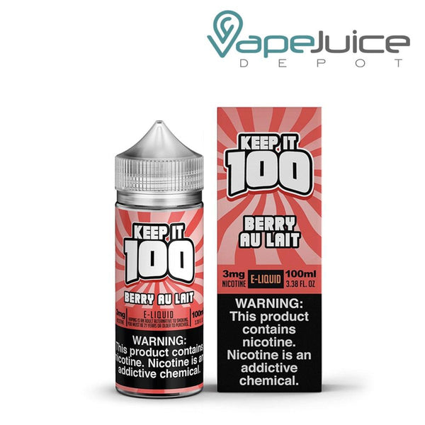A bottle of Keep it 100 Berry Au Lait eLiquid 100ml and a box with a warning sign on the right side - Vape Juice Depot
