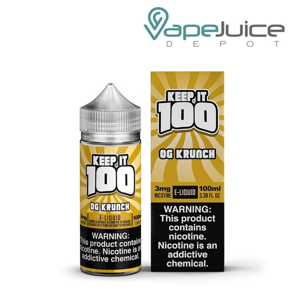 A bottle of Keep it 100 OG Krunch eLiquid 100ml and a box with a warning sign on the right side - Vape Juice Depot