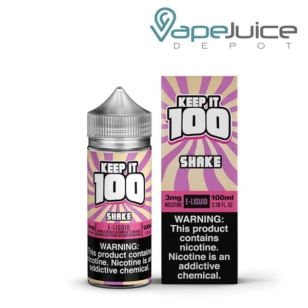 A bottle of Keep it 100 Shake eLiquid 100ml and a box with a warning sign on the right side - Vape Juice Depot