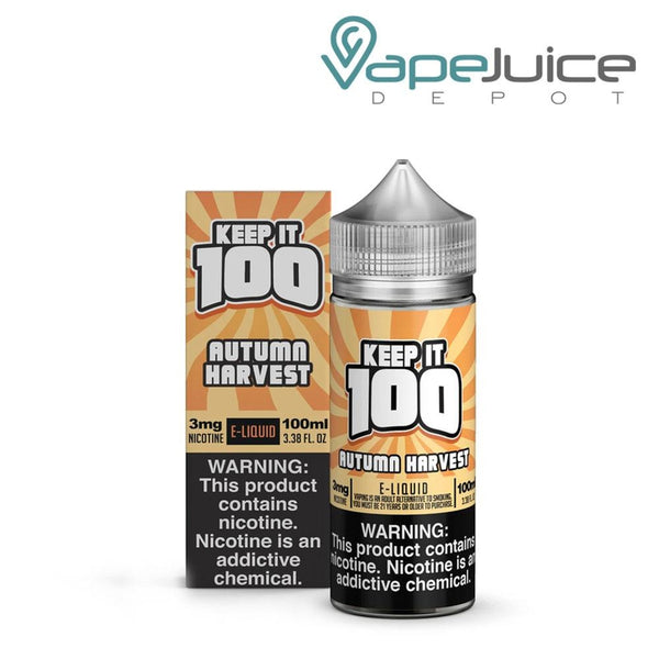A box of  Keep it 100 Autumn Harvest eLiquid and a 100ml unicorn bottle with a warning sign next to it - Vape Juice Depot