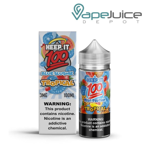 A bottle of Keep it 100 OG Blue eLiquid 100ml and a box with a warning sign on the right side - Vape Juice Depot