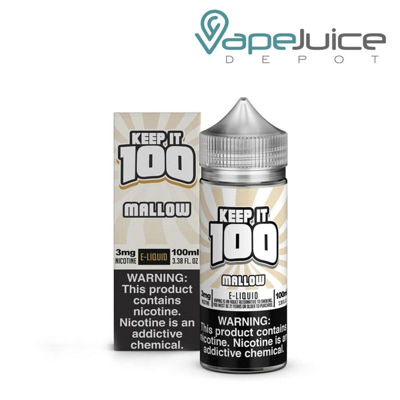 A box of Keep it 100 Mallow eLiquid and a 100ml unicorn bottle with a warning sign next to it - Vape Juice Depot