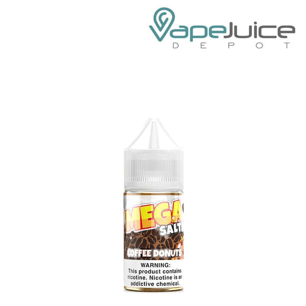 A 30ml bottle of MEGA Salts Coffee Donuts eLiquid with a warning sign - Vape Juice Depot