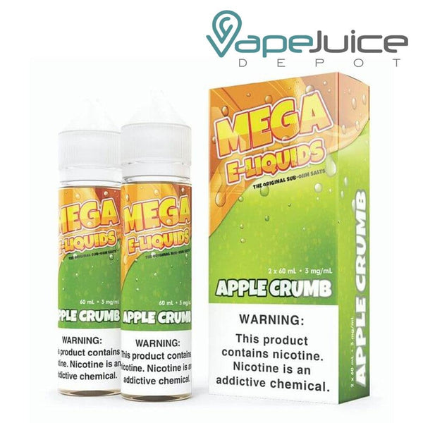 Two 60ml bottles of MEGA e-Liquids Apple Crumb and a box with a warning sign next to it - Vape Juice Depot