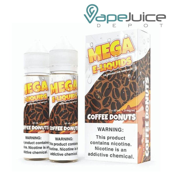 Two 60ml bottles of MEGA e-Liquids Coffee Donuts and a box with a warning sign next to it - Vape Juice Depot