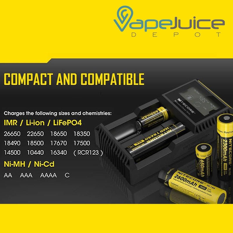 NITECORE D2 Digital Battery Charger - VapeJuiceDepot