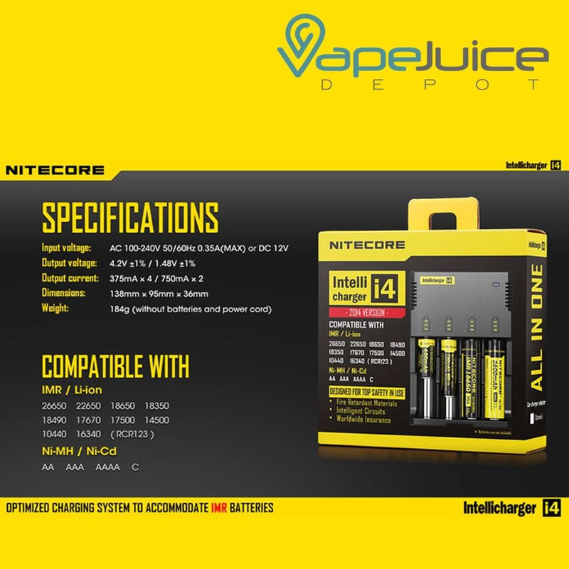 NITECORE i4 Intellicharger | 4 Bay - Vape Juice Depot