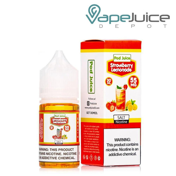 Pod Juice Strawberry Lemonade Salt Nicotine e-Liquid 30ml - Vape Juice Depot1
