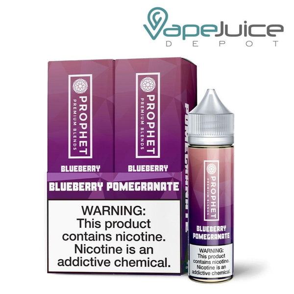 Image contains two bottles of Prophet Premium Blends Blueberry Pomegranate eLiquid 120ml in a box and separate bottle next to the box - Vape Juice Depot
