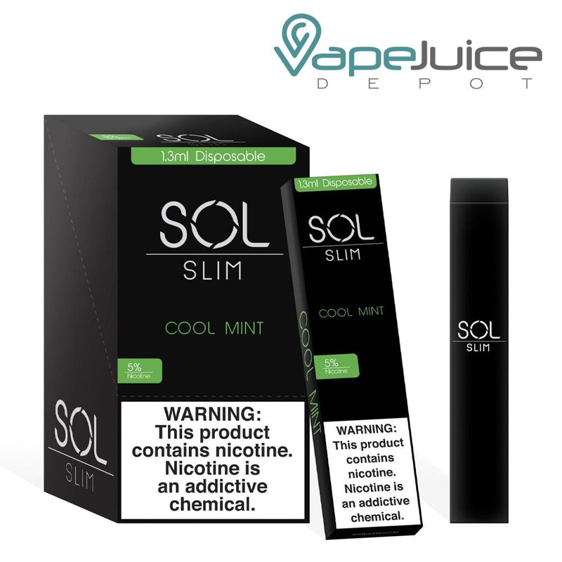 SOL Slim Disposable Device Cool Mint - Vape Juice Depot