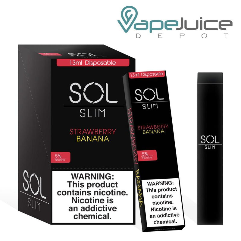SOL Slim Disposable Device Strawberry Banana - Vape Juice Depot