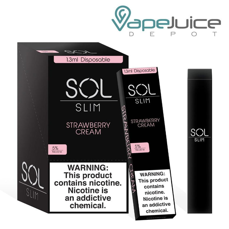 SOL Slim Disposable Device Strawberry Cream - Vape Juice Depot