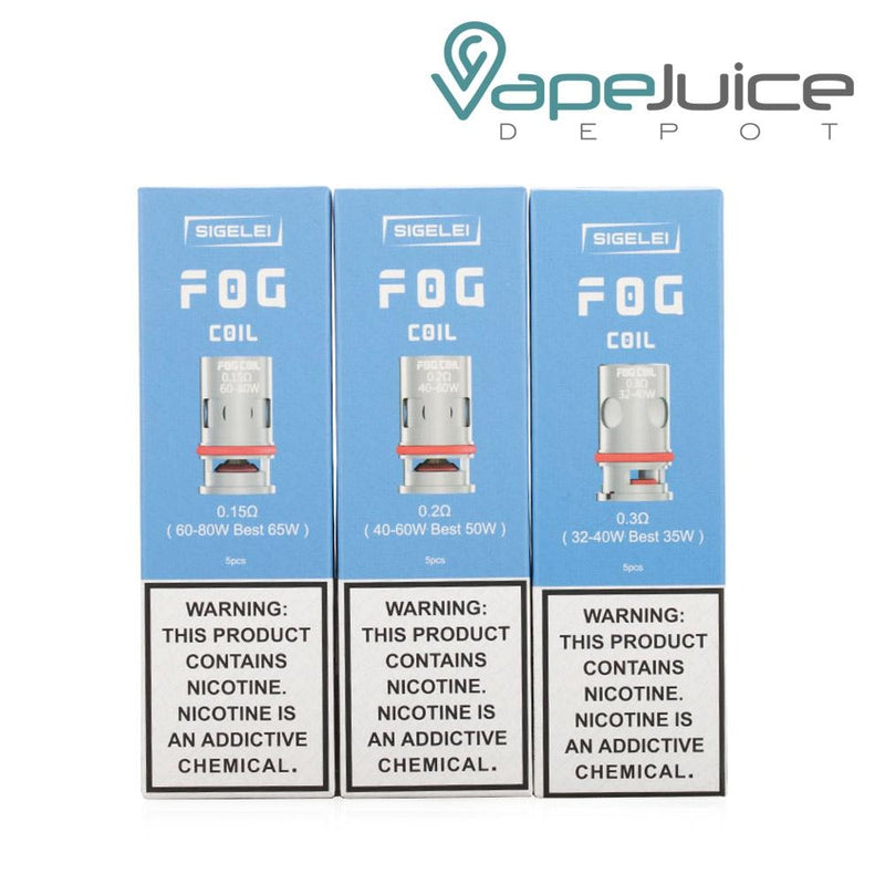 Three boxes of Sigelei FOG Replacement Coils 0.15ohm, 0.2ohm and 0.3ohm - Vape Juice Depot