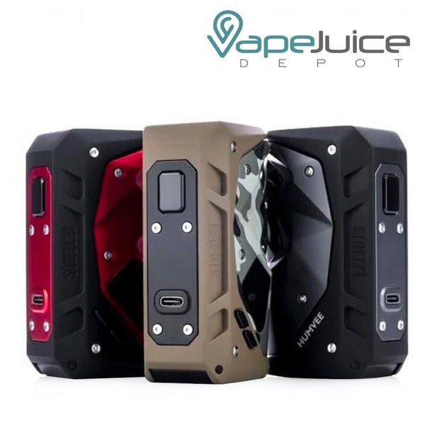 Three Sigelei HUMVEE 215W Box Mods with a firing button and a USB Port beneath it - Vape Juice Depot